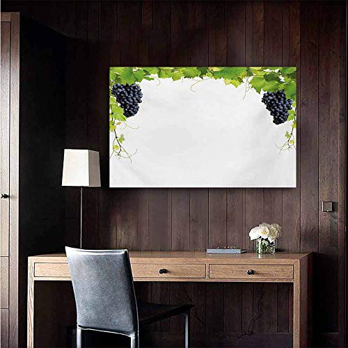 duommhome Vineyard Abstract Painting Wine Leaf with Loose Bunch of Large Berries Tannin Breed French Village Image Natural Art 24