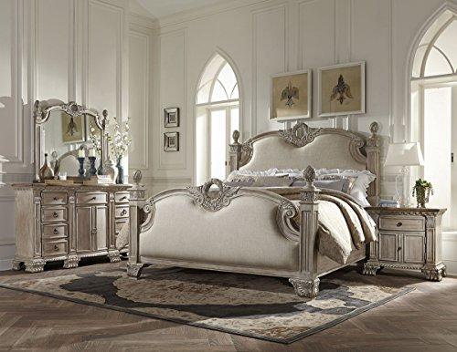 Cal King Poster Bedroom Set (Chatelet 4 Piece French Country Cal King Poster Bedroom Set - White Vintage Wash with Weathered Brown Top - Bed, Nightstand, Dresser & Mirror)