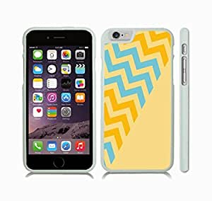 iPhone 6 Case with Chevron Pattern Vanilla/ Green/ Sky Blue Stripe , Snap-on Cover, Hard Carrying Case (White)