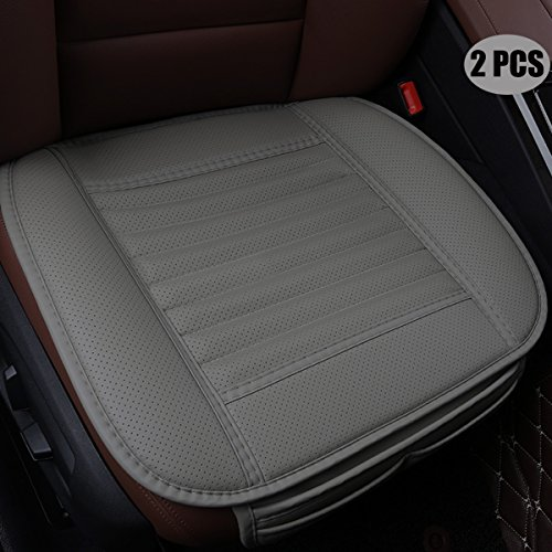 EDEALYN (2 PCS Four Seasons General Pu Leather Bamboo Charcoal Breathable Comfortable Car Interior Seat Cushion Cover Pad Mat for Auto Car Supplies Office Chair(Gray) (This Shouldn T Happen To A Dog)