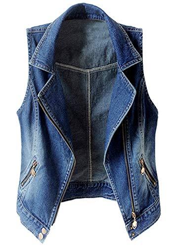 (Kedera Women's Sleeveless Lapel Denim Vest Button Up Waistcoat Cropped Jacket (Blue, Small))