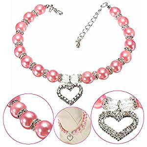 Pink Lizard Pet Dog Crystal Heart Charm Pendant Pearls Necklace Collar Pink