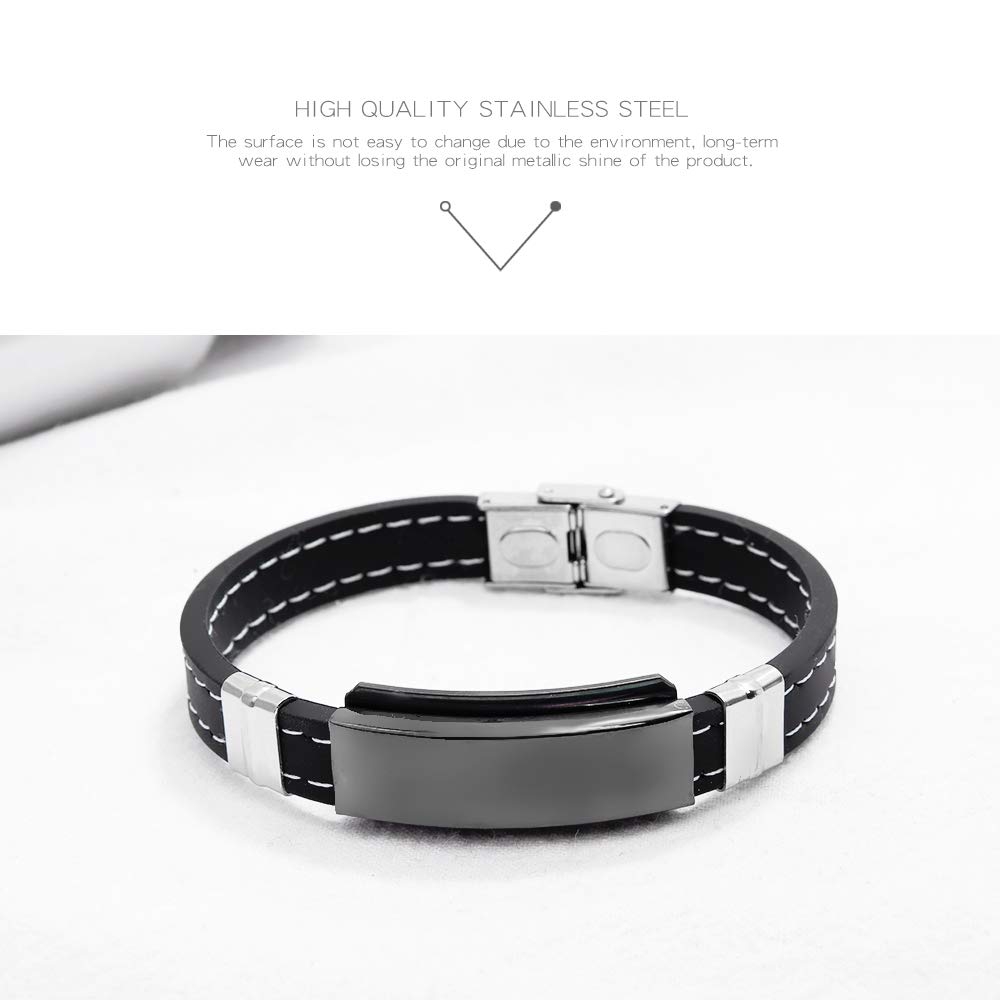 JC Fashion Jewelry Free Engraving Unisex Silica Gel Stainless Steel Medical Alert ID Tag Wristband Bracelet