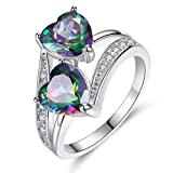 Women Ring Brecelet,Lover Jewelry Rainbow Gemstone Personality Double Heart Silver Ring-Mother's Day Gifts (9, Multicolor)