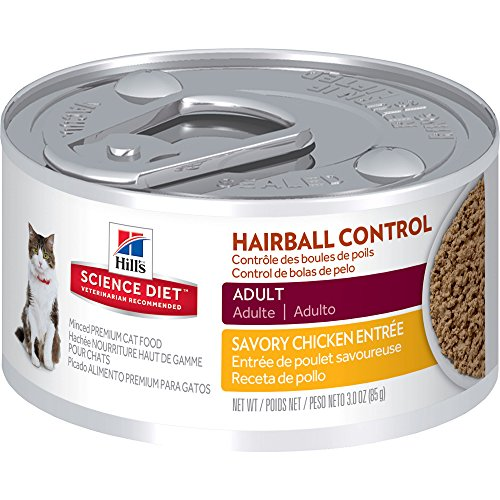 Hill's Science Diet Adult Hairball Control Savory Chicken Entree Minced Cat Food, 3-Ounce Can, 24-Pack