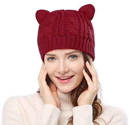 Bellady Women's Hat Cat Ear Crochet Braided Knit -