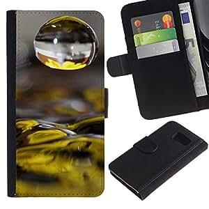 LASTONE PHONE CASE / Lujo Billetera de Cuero Caso del tirón Titular de la tarjeta Flip Carcasa Funda para Samsung Galaxy S6 SM-G920 / Water Drop Yellow Flower