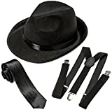 NJ Novelty Gangster Costume Hat, Suspenders and Tie Set Roaring 20s Accessories (Black Hat, Black Suspenders & Black Tie)