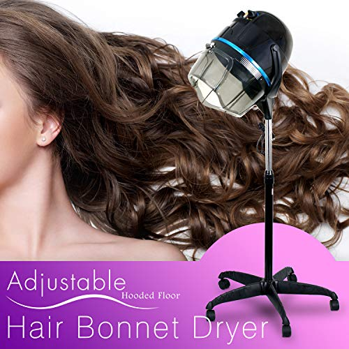 Professional Floor Hooded Hair Bonnet Dryer Stand Up Hair Dryer W/Rolling Wheels & Adjustable Hood Salon Beauty Equipment (Best Hair Dryer For Home Use)