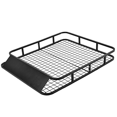 SUNCOO Universal Roof Rack Basket Cars Top Cargo Carrier Luggage Holder with Wind Fairing, 48Lx40Wx6H inch 250 lbs Capacity, Black