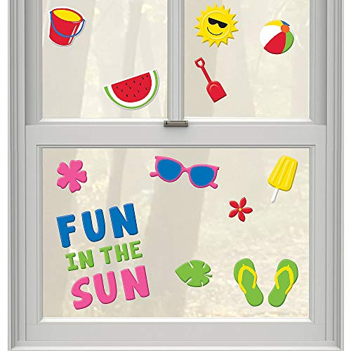 Summer Reusable Gel Cling Window Decorations Sun, Beach Ball, Flip Flops, Watermelon (1 Sheet 23 Clings) (Window Summer)