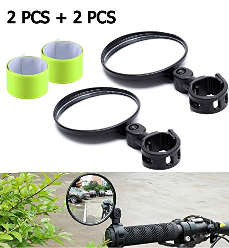 IDWAI 2Pcs Bike Mirror, Bicycle Mirrors for Handlebars With 360°Horizontal Rotation,180°Vertical Rotation, Bonus 2 Pcs Reflective Bands for Cycling (black)