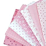 Aisa 50x50cm Pink Series Fabric Bundles Flower Printed Cotton Fabric Comfortable Patchwork Fabric Home Textile Material Cloth for Sewing