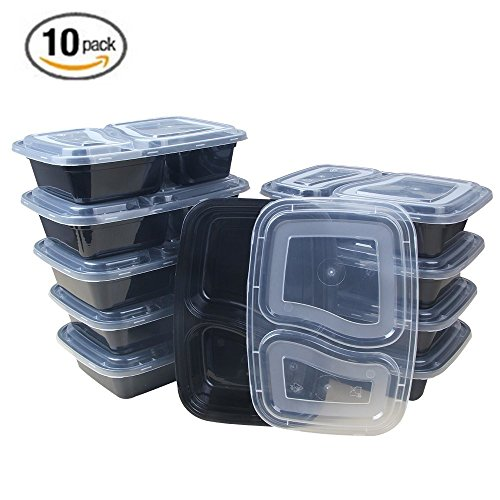 Mercimall 32oz Meal Prep Containers 10 Pack 2 Compartment Leak Resistant Food Storage Microwave & Dishwasher & Freezer Safe Bento Box