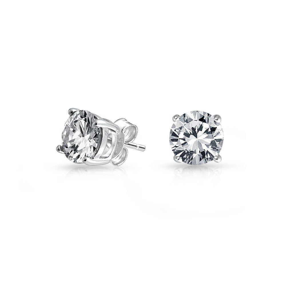 Bling Jewelry Basket Set Mens Round CZ Stud Earrings 925 Sterling Silver 6mm JGood-E00244RS-1-C