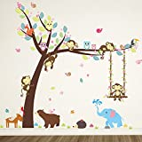 girl decals - ElecMotive Cartoon Forest Animal Monkey Owls Hedgehog Tree Swing Nursery Wall Stickers Wall Murals DIY Posters Vinyl Removable Art Wall Decals for Kids Girls Room Decoration (Bear Elephant)