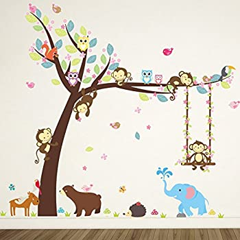 ElecMotive Cartoon Forest Animal Monkey Owls Hedgehog Tree Swing Nursery  Wall Stickers Wall Murals DIY Posters Part 59
