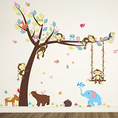 ElecMotive Cartoon Forest Animal Monkey Owls Hedgehog Tree Swing Nursery Wall Stickers Wall Murals DIY Posters Vinyl Removable Art Wall Decals for Kids Girls Room Decoration (Bear Elephant) (Monkey Wall Decals For Nursery)