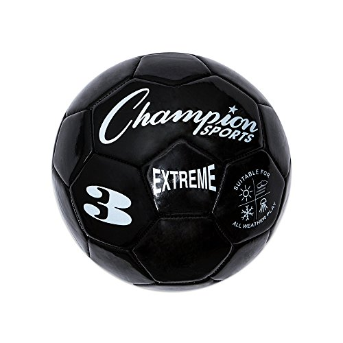 Champion Sports Extreme Series Soccer Ball, Size 3 - Youth League, All Weather, Soft Touch, Maximum Air Retention - Kick Balls for Kids Under 8 - Competitive and Recreational Futbol Games, Black
