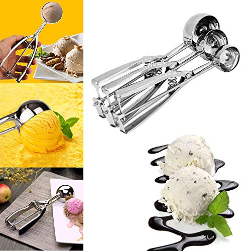 (MSOO Ice Cream Spoon Stainless Steel Spring Handle Masher Cookie Scoop (L))