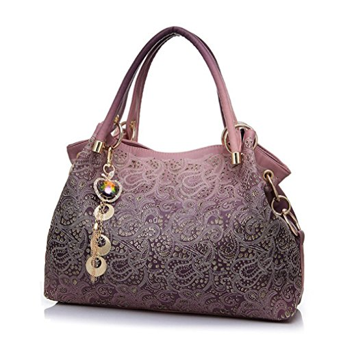 Firstider Women Hollow Out Handbag Floral Print Shoulder Bags Pu Leather Tote Bag Pink