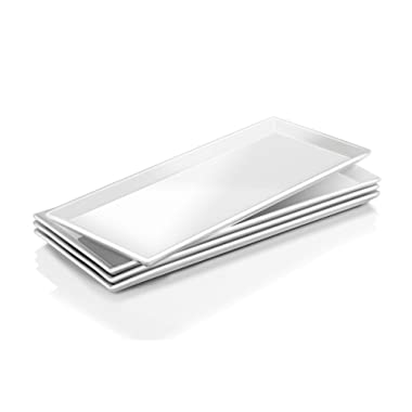 DOWAN 14.5-inch Porcelain Serving Platters/Rectangular Plates - 4 Packs, Natural White