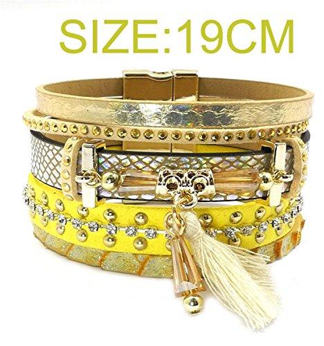 Ty-BLACK Fashion Leather bracelet,tassel,crystal,Bohemian bracelets&banglesjewelry yellow 19cm -