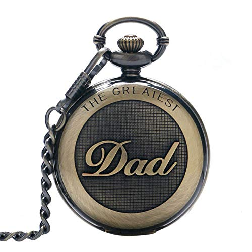 SwitchMe Retro Quartz Pocket Watch Japan Movement with Belt Clip Chain for Dad Bronze ()