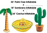 34 inch Inflatable Cactus and 35 inch Inflatable Palm tree and 18inch Inflatable Drink cooler Sombrero by Shimmer