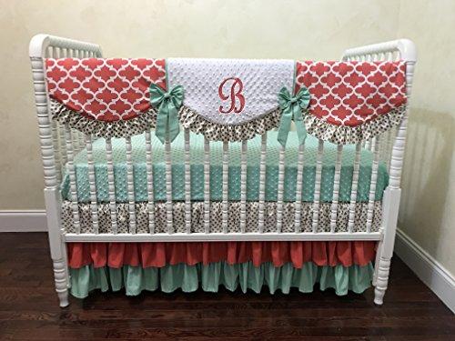 Nursery Bedding, Baby Girl Crib Bedding Set Katrina, Coral, Mint, and Gold Crib Bedding, Scalloped Crib Rail Cover, Three Tiered Crib Skirt - Choose Your Pieces