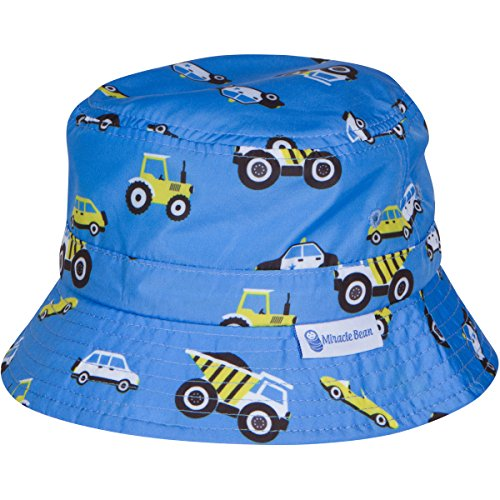 Miracle Bean X Baby Toddler Sun Hat SPF 50+ UV Protection Adjustable Grow with Child Blue Car ()