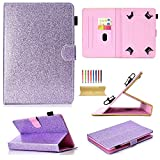 Uliking Universal Case for 7 inch Tablet, Bling Glitter PU Leather Flip Stand Cover with Cards/Pencil Holder for Galaxy Tab A 7.0, Fire 7, Galaxy Tab 3/Tab E Lite 7.0 Other 6.5'-7.5' Tablets, Purple