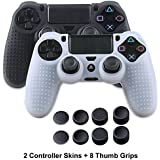 PS4 Controller Skins - Silicone Covers for DualShock 4 - Anti-Slip Protector Case Set for Sony PS4, PS4 Slim, PS4 Pro 2 PS4 Controller Skins - 4 Pairs PS4 Thumb Grips - Black & White