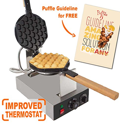 IMPROVED Puffle Waffle Maker Professional Rotated Nonstick ALD Kitchen (Grill / Oven for Cooking Puff, Hong Kong Style, Egg, QQ, Muffin, Eggettes and Belgian Bubble Waffles) (110V with US PLUG) (Industrial Tea Machine)