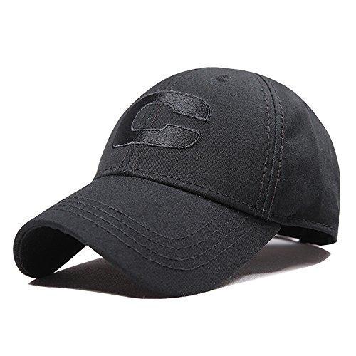 CACUSS Unisex Basball Cap Hat - Adjustable Cotton Plain Hat with Letter Pattern, Casual Outdoor Hat, Classic Black