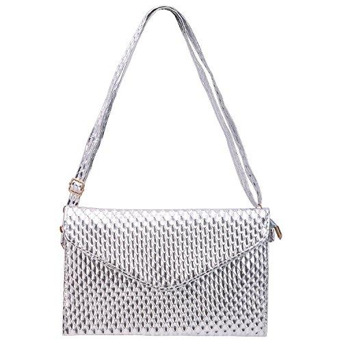 Sasairy Women Envelope Clutch Bag Large Zipper Wallet Purse Leather Evening Handbag Silver