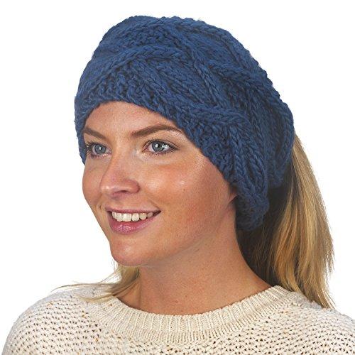 FU-R Headwear Women's Feel My Flow Lightweight Hand Knit Headband, Cadet, One Size