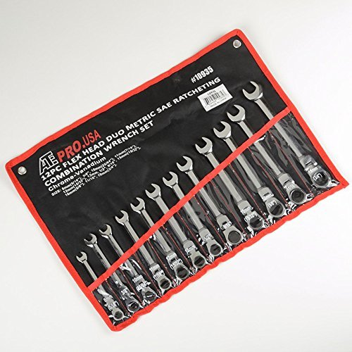12 pc Flex Head Duo Metric SAE Ratcheting Combination Wrench Set ATE Tools (Metric Ratcheting Combination Pcs Wrench)