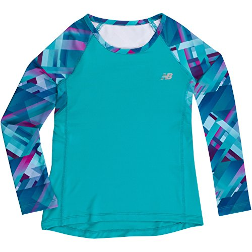 New Balance Little Girls' Long Sleeve Performance Tee, Pisces/Plaid, 6