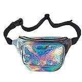 MSFS Women Hologram Bum Waist Bag Laser Flower Fanny Bag Waterproof Shiny Neon Pack With Flower Pattern (Silver flower)
