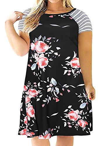 Kancystore Womens Summer Short Sleeve Swing A-Line Dress Floral Midi Dress Black,XXL