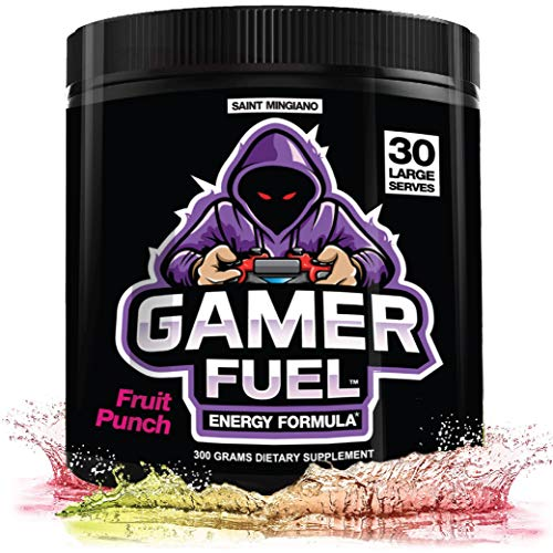 Gamer Fuel Energy Formula | Endurance Sugar Free Powder | Focus & Brain Vitamin Booster Supplement – Boost Mental Clarity, Reaction Time, Energy & Concentration – Eye & Vision | 30 Serves