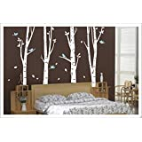Tree Wall Decal Set of 4 Birch Tree Wall Decal Nursery Forest with Birds Removable Vinyl Tree Wall Sticker for Living Room