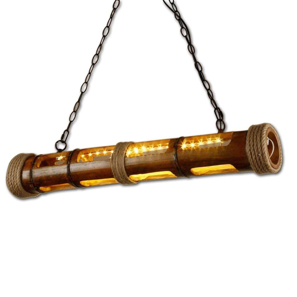 Vintage LED Pendelleuchte Retro Kreative Pendelampe Bambus Schatten Hängelampe Seil Dekoration Hängeleuchte Esszimmerlampe Rustikal Wohnzimmer Beleuchtung Schlafzimmer Lampe 36W Warmweiß-Licht