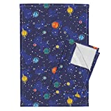 Space Solar System Astronaut Planet Stars Whimsical Tea Towels Our Solar System (Rotated) by Robyriker Set of 2 Linen Cotton Tea Towels