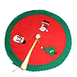 Image of OIZEN Red Round Tree Skirt 33inch/84cm Diameter Home Party Decoration Ornament Snowman Santa Tree Embroidery Tree Skirt for Christmas Holiday
