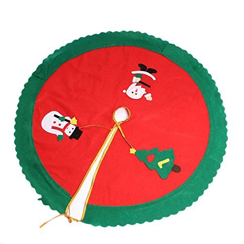 OIZEN Red Round Tree Skirt 33inch/84cm Diameter Home Party Decoration Ornament Snowman Santa Tree Embroidery Tree Skirt for Christmas Holiday Image
