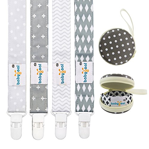 - Babygoal Baby Plastic Pacifier Clips for Boys, 4 Pack with Pacifier Case for Teething Toy & Baby Shower Gift Fits All Pacifier Styles for Girls and Boys