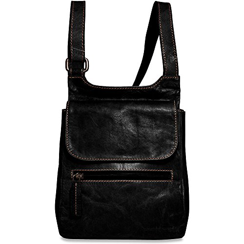 Jack Georges Voyager Collection Leather Slim Crossbody Bag in Black Jack Georges Slim Briefcase