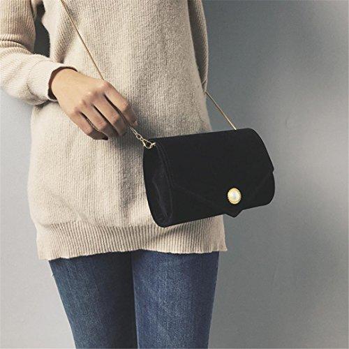 Baratos ESAILQ Bandolera Mujer Hombro para Niña Shoppers Bolsos Gamuza Pequeña de Negro de y fwpBWnqv